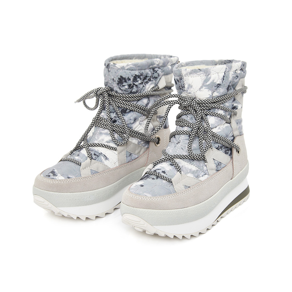 TAS 迷彩布拼接綁帶中筒雪靴-冰雪白