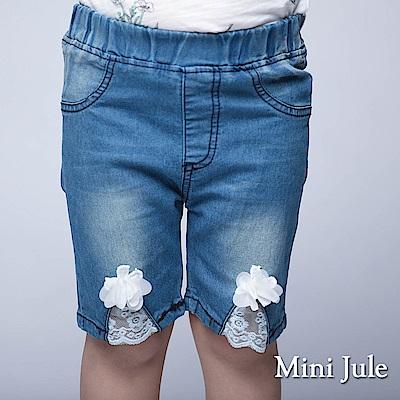 Mini Jule 童裝-短褲 蕾絲花朵褲管鬆緊短褲(藍)