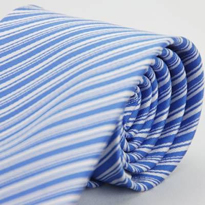 Alpaca 藍底白色粗細斜紋領帶