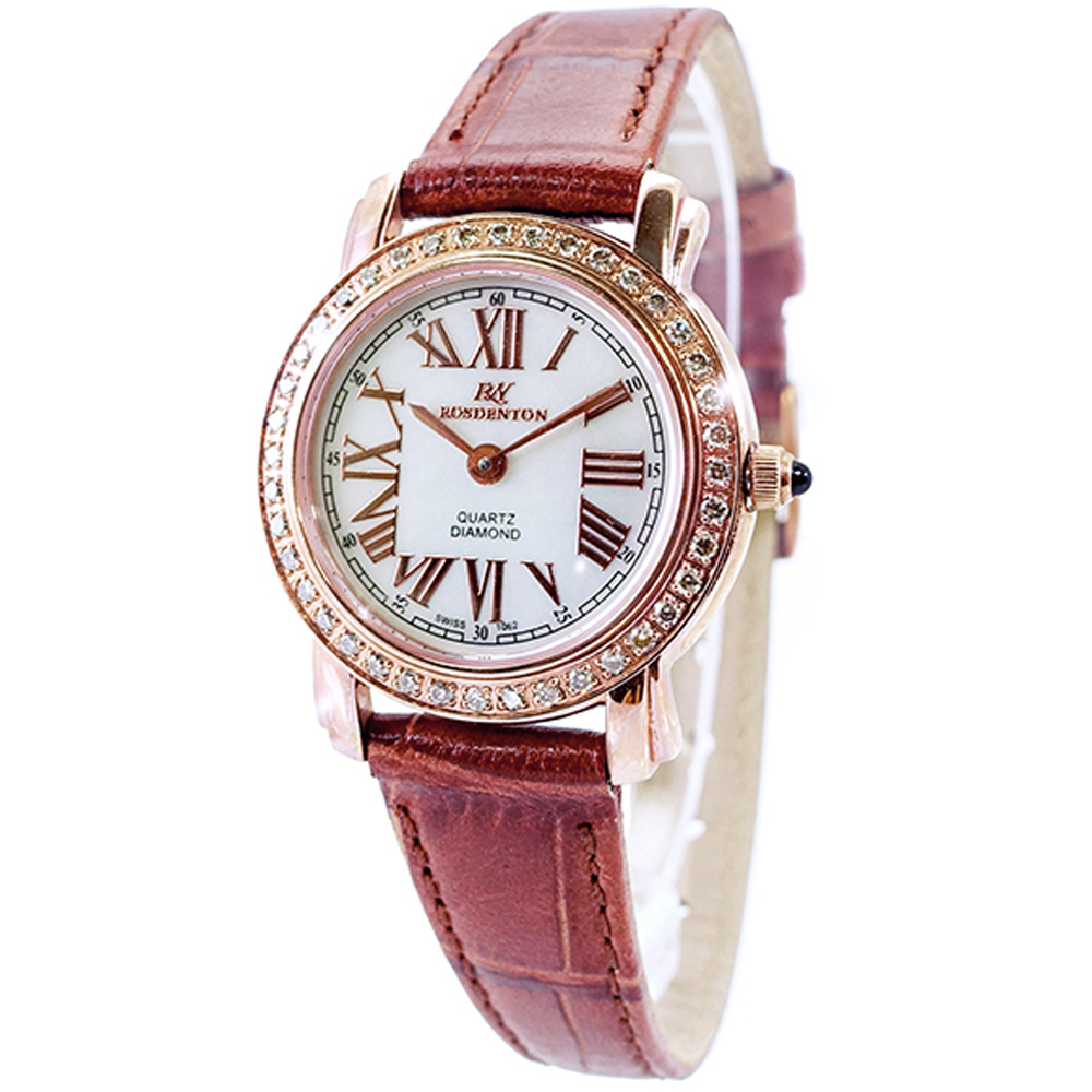 ROSDENTON 勞斯丹頓玩味時間晶鑽真皮手錶-珍珠貝X棕/25mm