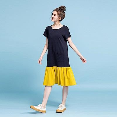 CACO-簡約撞色拼接洋裝-女【PSH174】