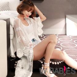 正韓 蕾絲刺繡網紗寬袖長版外套 (白色)-W BABIES