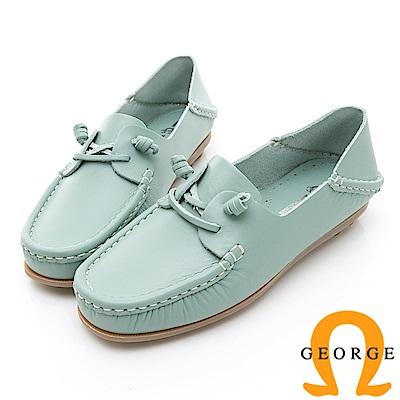 GEORGE 喬治-水洗系列 素面繩結大底休閒鞋 女鞋-淺藍