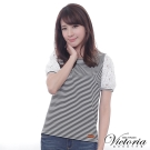 Victoria 花苞袖拼接蕾絲短袖T-女-黑白細條
