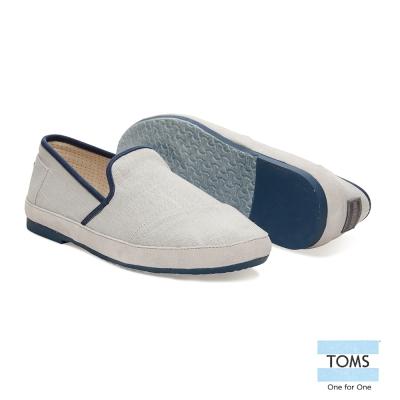 TOMS 撞色滾邊織紋懶人鞋-男款(米白)