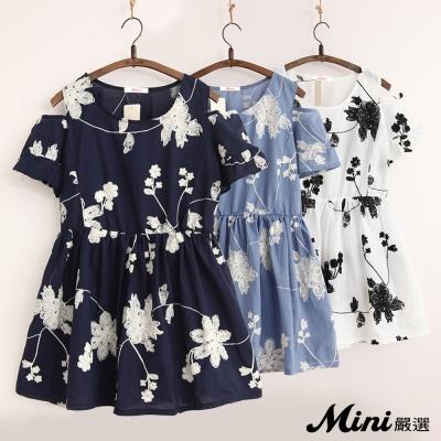 洋裝-棉質寬鬆繡花露肩喇叭袖洋裝-二色-Mini嚴選