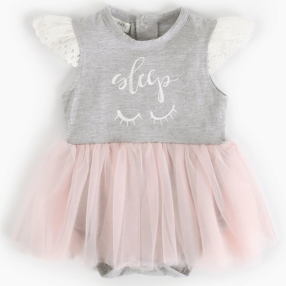 Baby unicorn 粉灰睫毛紗裙短袖包屁衣連身衣