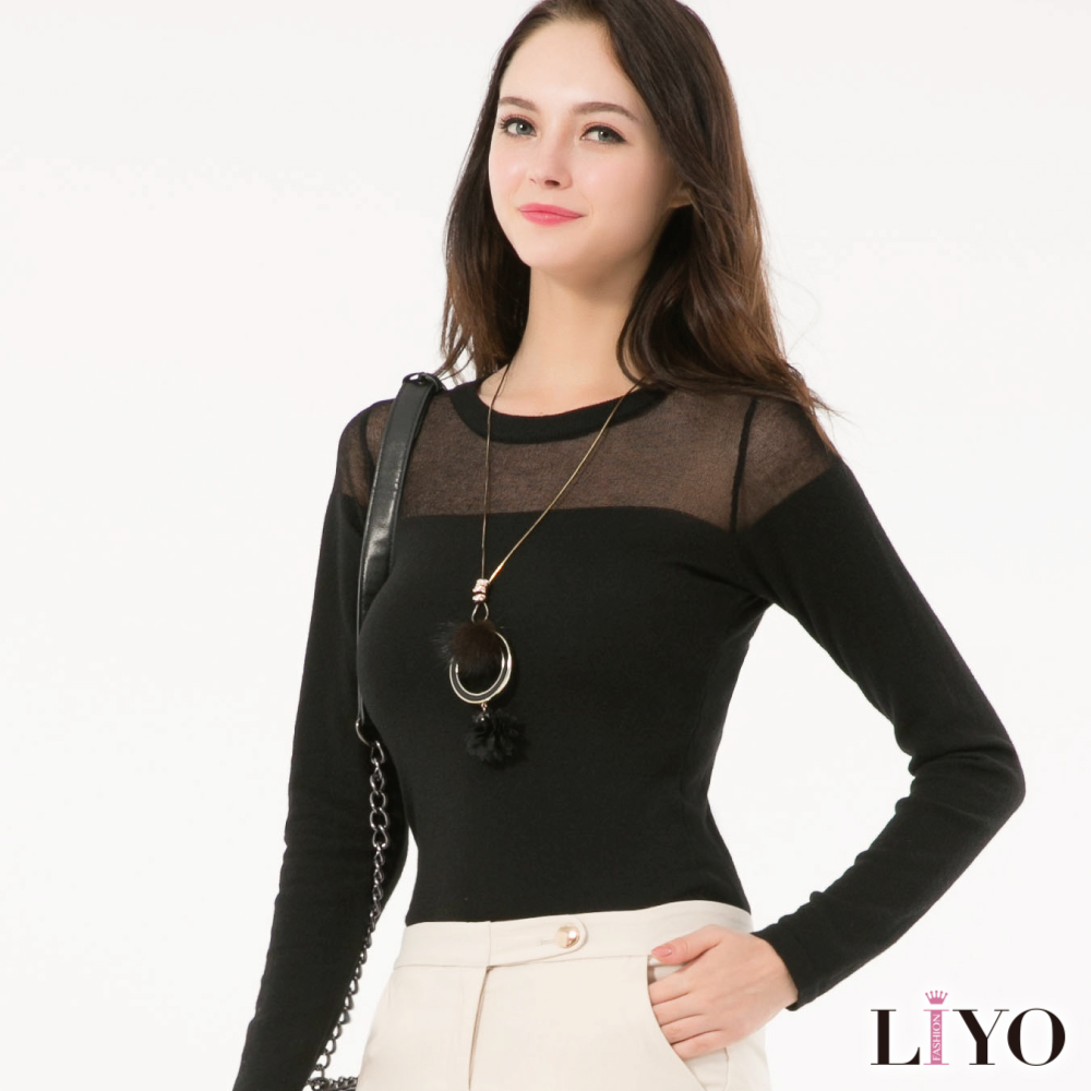 LIYO理優圓領拼接微透膚針織上衣(黑)