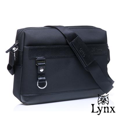 Lynx - 山貓經典極簡風格橫式真皮側背包-大-經典黑