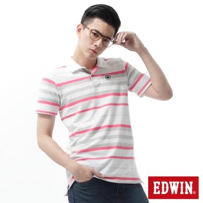 EDWIN-POLO衫-PK寬條POLO衫-男-白