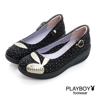 PLAYBOY-清新怡人-GOPLAY點點厚底娃娃鞋-黑-女