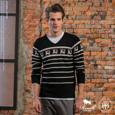 ROUSH 麋鹿橫紋設計V領針織毛衣 (2色)