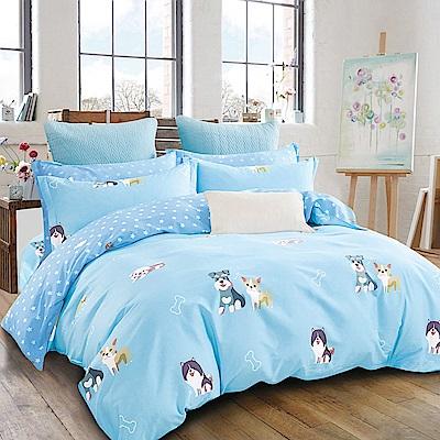 Ania Casa-台灣製 100%精梳純棉 - 加大床包被套四件組 - 吉祥如意-藍