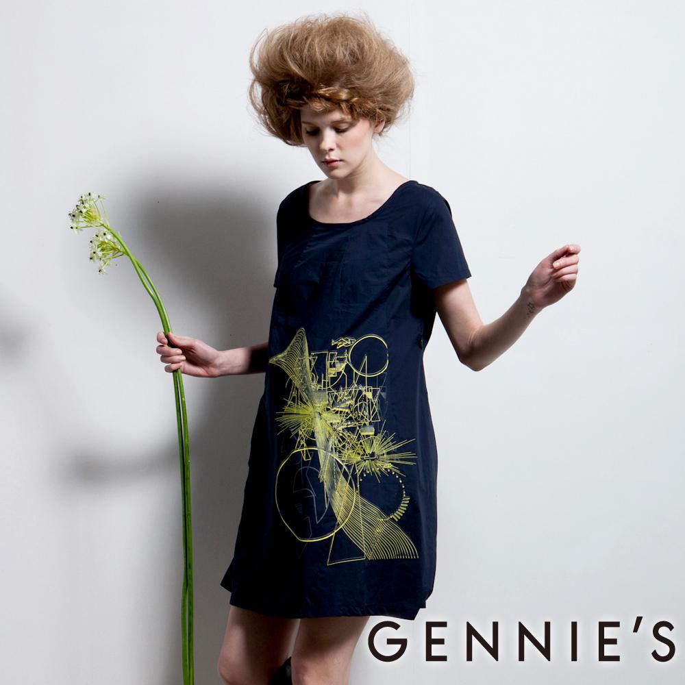 Gennies奇妮-010系列-個性圖印春夏洋裝(T1142)-深藍