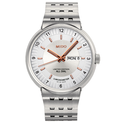MIDO All Dial 1918 羅馬競技系列限量機械腕錶-銀/42mm
