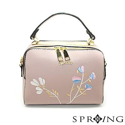 SPRING-午茶時光甜蜜刺繡手提方包-薰衣草淡紫