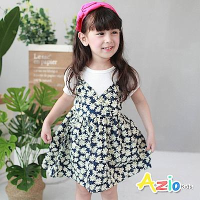 Azio Kids 童裝-洋裝 小黃花假兩件吊帶洋裝(藍)