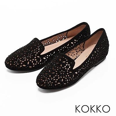 KOKKO -浪漫輕奢感鏤空雕花平底樂福鞋-經典黑