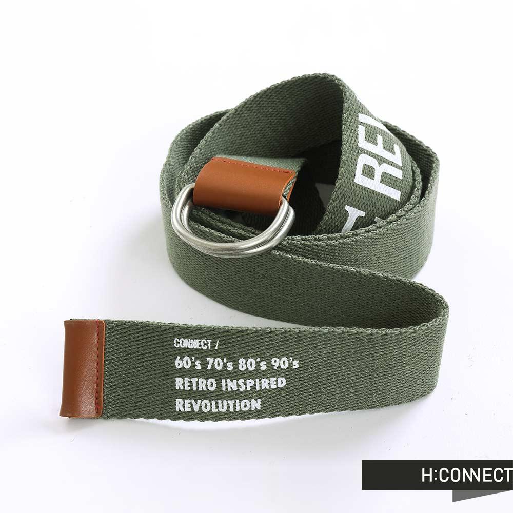 H:CONNECT 韓國品牌 簡約純色英文字母金屬扣環腰帶 - 綠