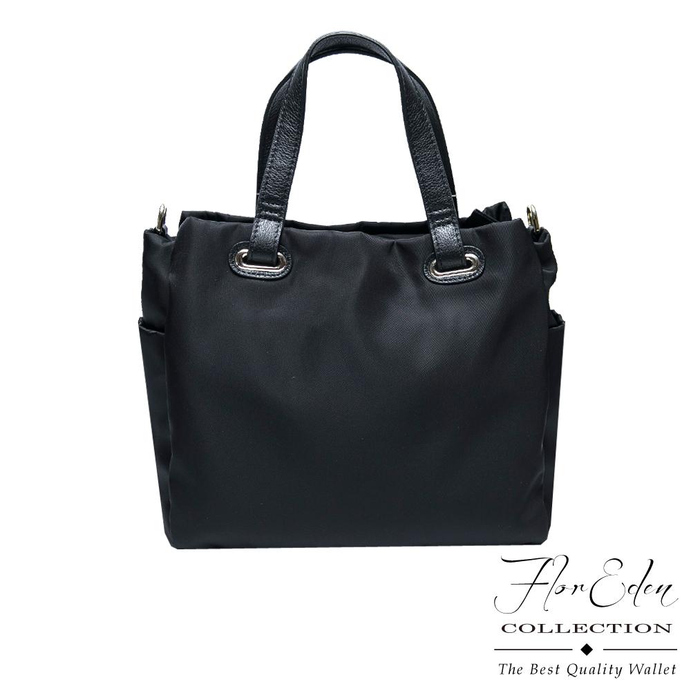 DF Flor Eden - 輕盈防潑水尼龍配牛皮簡約方型手提包