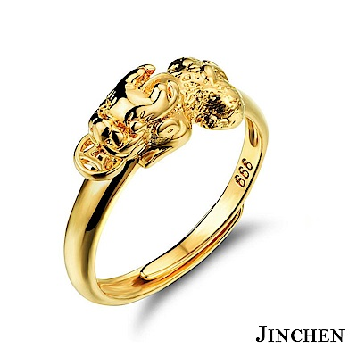 JINCHEN 銅鍍金招財貔貅戒指