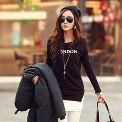 英文短標語合身開衩T恤 (共五色)-N.C21