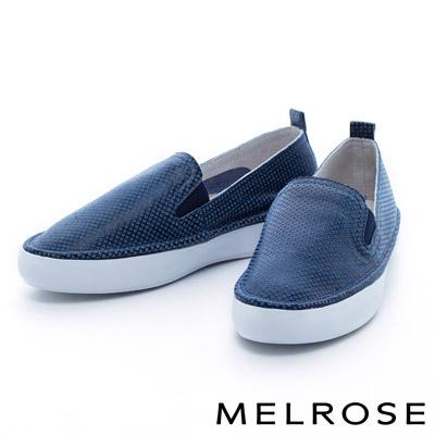 MELROSE-圓圈牛皮舒適厚底休閒鞋-藍