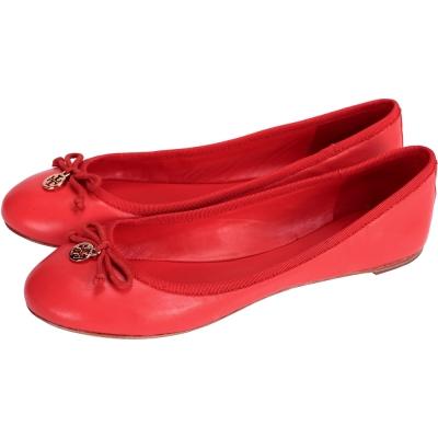TORY BURCH 蝴蝶結牛皮平底娃娃鞋(紅色)