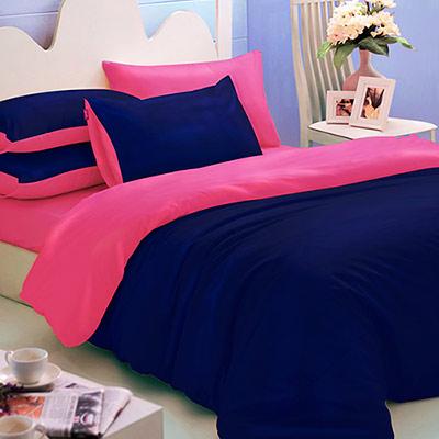 英國Abelia 繽紛混搭 單人三件式天使絨被套床包組-深藍*桃紅