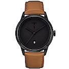 TYLOR 簡約時尚皮革手錶-黑X咖啡/43mm