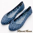 River&Moon雨鞋-晴雨二穿簍空雕花Q軟防水低跟鞋-藍系