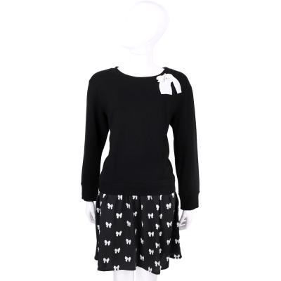 ANNA RACHELE 黑色蝴蝶結飾拼接長袖洋裝