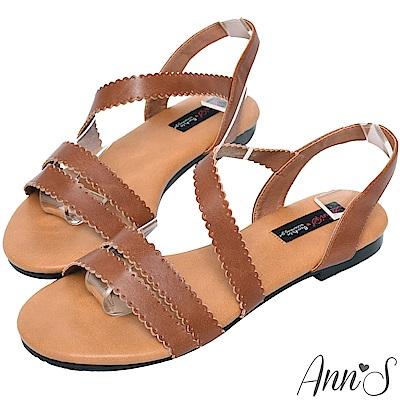 Ann'S平日輕甜-雕花寬版平底涼鞋-咖