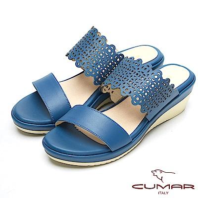 CUMAR真皮特殊簍空設計厚底台涼鞋-藍
