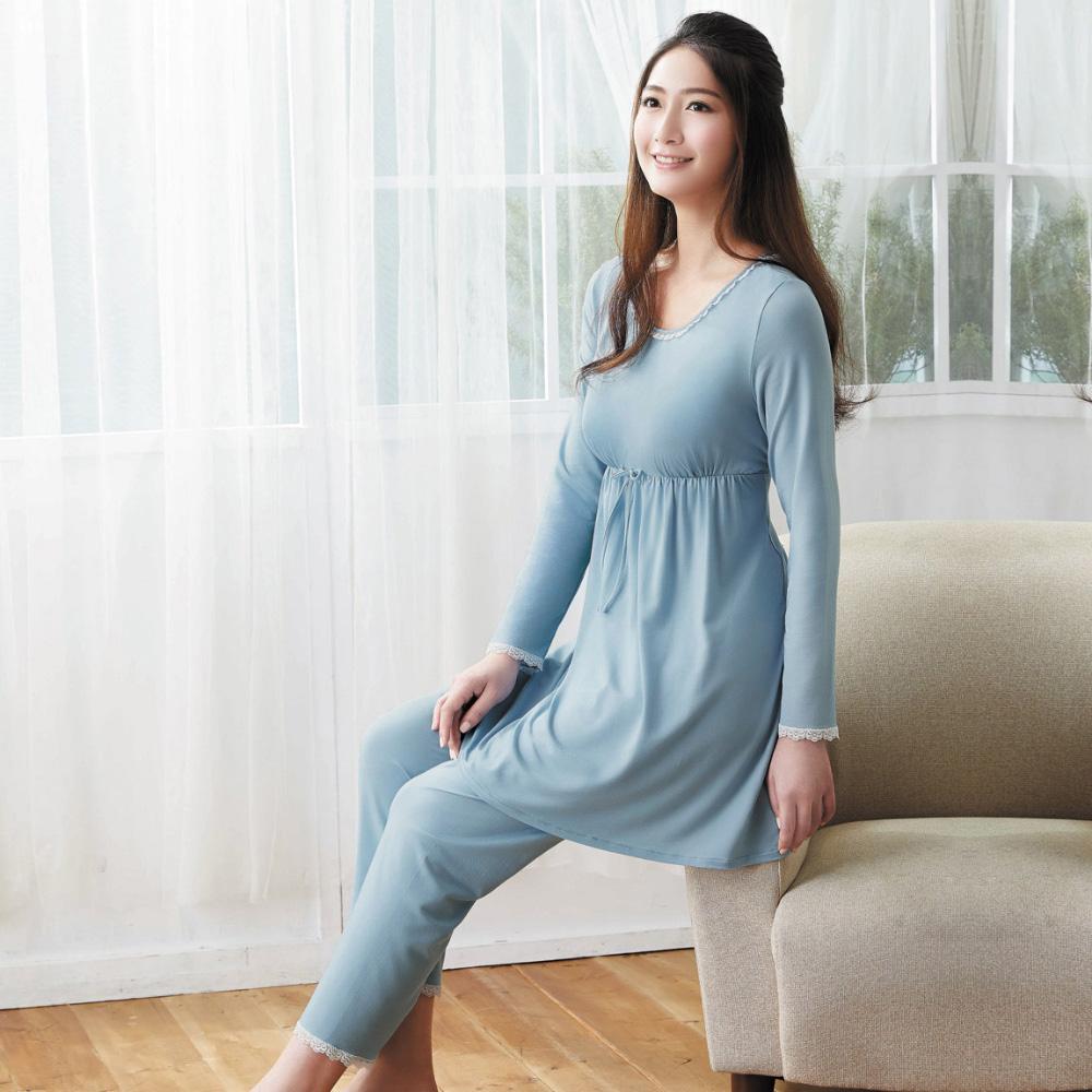 華歌爾 天絲棉針織 M-L 長袖圓領褲裝(藍)-睡眠研究所-家居服-舒適保暖-內襯罩杯