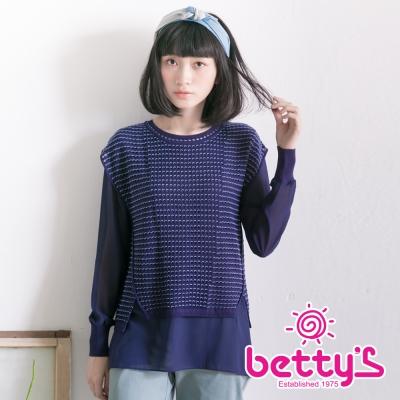 betty's貝蒂思 簍空針織背心雪紡長袖兩件式上衣(藍色)