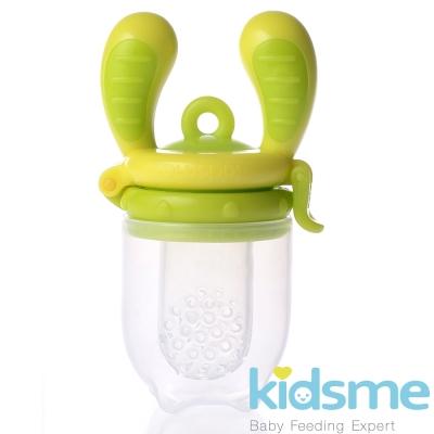 任-英國kidsme-咬咬樂輔食器-綠黃M號