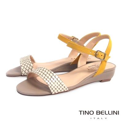Tino Bellini 巴西進口清新俏麗配色小坡跟涼鞋 _黃