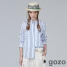 gozo草寫學生時代文字襯衫(藍白條紋)-動態show