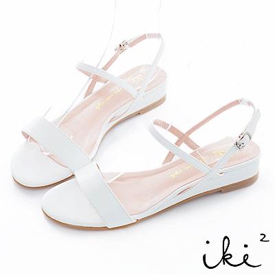 iki2 甜美一夏 百搭設計斜帶小坡跟鞋-白