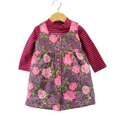 愛的世界 牡丹花長袖背心裙套裝 1~3歲
