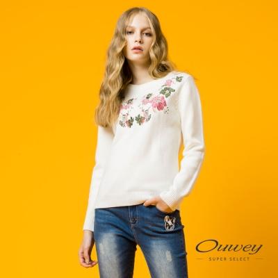 OUWEY歐薇 優雅甜美花卉針織上衣(白)