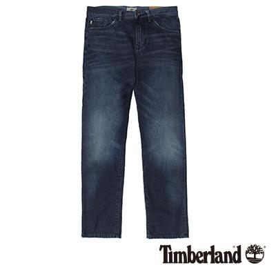 Timberland-男款靛藍色刷破口袋耐磨牛仔長