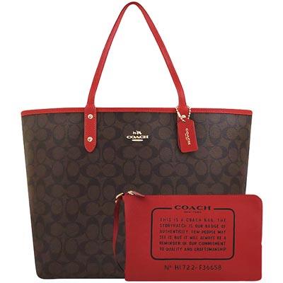 COACH 巧克力色紅邊大C PVC雙面托特包-附大型手拿包