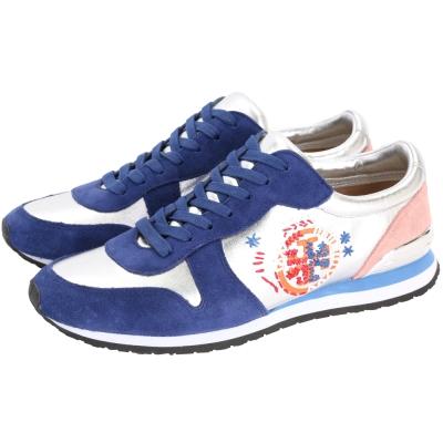 TORY BURCH Brielle 藍色麂皮拼接花樣LOGO運動鞋