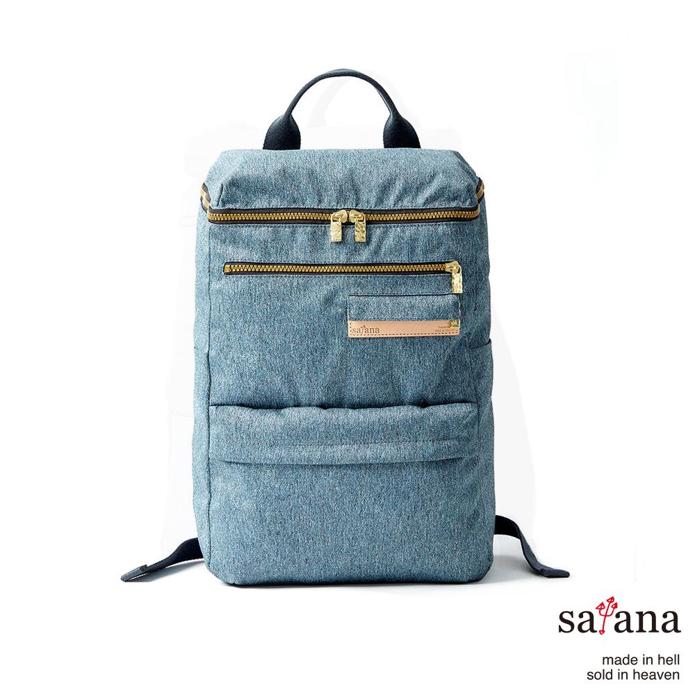 satana-休閒方形後背包丹寧藍