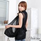 Victoria 針織抽皺外罩背心-女-黑色