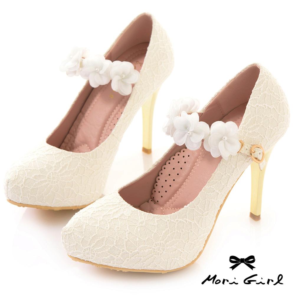 Mori girl蕾絲花朵繫帶高跟婚鞋 白