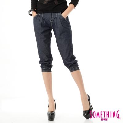 SOMETHING NEO縮口七分牛仔褲-女-酵洗藍