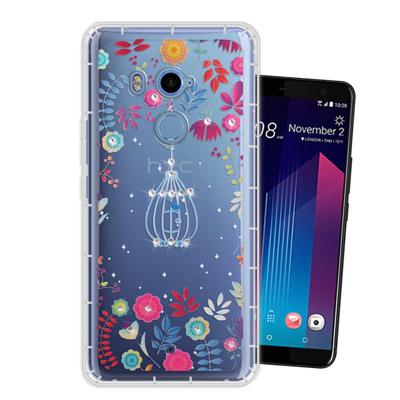WT HTC U11+ / U11 Plus 奧地利水晶彩繪空壓手機殼(鳥羽花萃...
